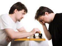 Two Men Play A Chess Royalty Free Stock Photography