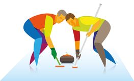 Two men are players in curling, who rubbed brushes on the ice an. D helped the granite stone hit the target Stock Images