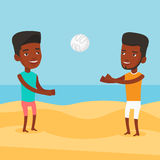 Two men playing beach volleyball. Royalty Free Stock Images