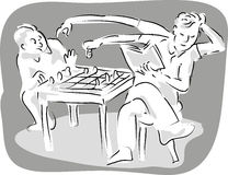 Two men playing chess game Stock Photo