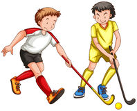Two men playing ground hockey Stock Images