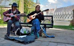 Street music:Two men playing guitar Stock Photo