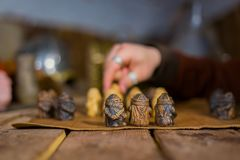Two men playing popular strategy board game - tafl Royalty Free Stock Images
