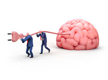 Two men plugging giant brain with electric socket. 3D illustration. Two men plugging giant brain with electric socket. Business and education concept Stock Photography
