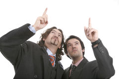 Two men point the finger. With respect to the high one Stock Photos