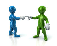Two men pointing fingers at each other. Blue and green men pointing fingers at each other Stock Photos