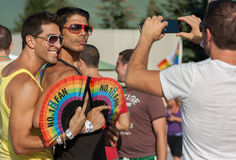 Two Men Pose for Photo at Capital Pride Stock Photography