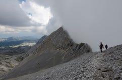 Two men on Ramsauer ferrata, Austria, The Alps Stock Photos