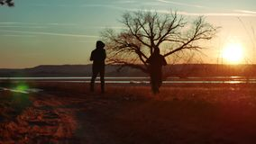 Two men on the road at sunset standing alone tree silhouette. Athletic young man running in the nature in Pine the. Two men on the road at sunset standing alone stock video footage
