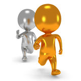 Two men running. Gold and silver men running. 3D render  on white. Chase, fitness concept Stock Images