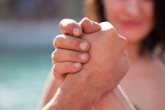 Two men's hands in comparison strength.  Royalty Free Stock Photos
