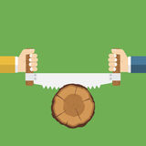 Two men sawing wood. Carpenters with saw in his hand. Vector illustration flat design. Carpentry work. Wood sectional. Cross section of tree. Lumberjack Stock Photography