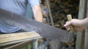 Two men sawing wood, saw Russian friendship, slow motion. Two men sawing wood, saw Russian friendship, have fun stock video footage