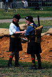 Two men in Scottish kilts. MOSCOW - JUNE 08, 2014: Two men in Scottish kilts. Historical reenactment of Mincer Nivelle battle held in 1917, the largest battle stock photos