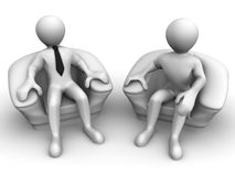 Two men is seated in a chair. Recruitment Royalty Free Stock Photos