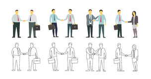 Two men shake each other hands. Business style. Flat graphics for your design. Contour linear variant Stock Images
