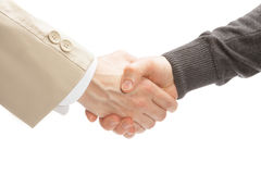 Two men shaking hands - close up studio shot Royalty Free Stock Photos