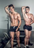 Two men showing body in gym Stock Photography