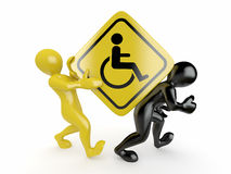 Two men with sign wheelchair Royalty Free Stock Photos