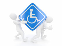 Two men with sign wheelchair Royalty Free Stock Photo