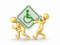 Two men with sign wheelchair Royalty Free Stock Photography
