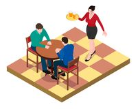 Two men sit at the table and wait for the waitress. vector illustration