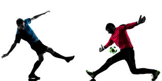 Two men soccer player goalkeeper  competition silhouette Royalty Free Stock Photography