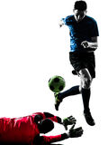 Two men soccer player goalkeeper  competition silhouette Royalty Free Stock Photos