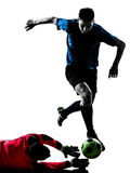 Two men soccer player goalkeeper  competition Stock Photo