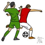 Two men soccer player playing football competition fighting for. A ball vector illustration sketch doodle hand drawn with black lines isolated on white Royalty Free Stock Photography