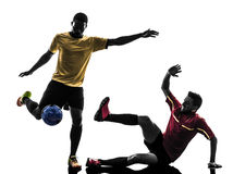 Two men soccer player  standing silhouette Royalty Free Stock Images