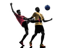 Two men soccer player  standing silhouette Royalty Free Stock Photography
