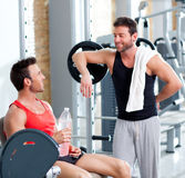 Two men on a sport gym relaxed after fitness Stock Photo