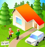 Two men talk about house. Agent and owner talking about sale of house royalty free illustration