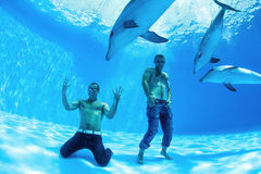 Two men and three dolphin Royalty Free Stock Photography