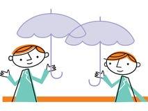 Two men with umbrellas Stock Photo