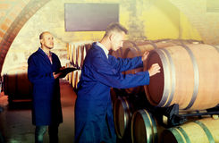 Two men in uniforms taking notes in cellar with wine woods Royalty Free Stock Photos
