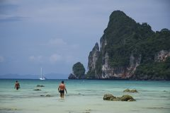 People in sea koh phi phi thailand royalty free stock image