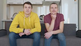 Two men are watching TV and talking. Young guys are sitting on the couch and calmly discuss what is happening on the television show. Friends rest. The kitchen stock video footage