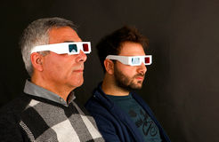 Two Men Wearing 3d Glasses Stock Photo