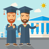 Two men wearing graduation cap. Royalty Free Stock Photography
