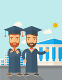 Two men wearing graduation cap. Stock Image
