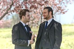 Two Men at Wedding Stock Images