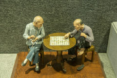 The two men were playing chess Royalty Free Stock Photography