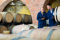 Two men winery employees writing note Stock Photography