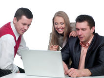 Two men and woman working Stock Images