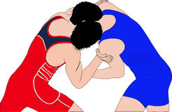 Two men wrestlers in Greco-Roman wrestling. At competitions. color silhouette vector illustration Stock Images