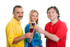 Two men and the young woman royalty free stock photography