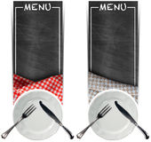 Two Menu Banners with Blackboards Stock Photos