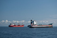 Two merchant ships outside Saint Petersburg Royalty Free Stock Photography